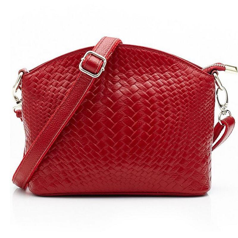 100% Genuine Leather Brand New Fashion Designer Knitting Messenger Handbag Women Bag Ladies Bags Female Shoulder Bag S-369