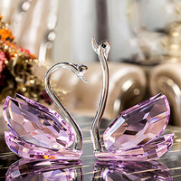 100mm/120mm/180mm/230mm Handmade 1 Pair Crystal Swan Crafts Paperweight Lovely Ornaments for Home Decoration