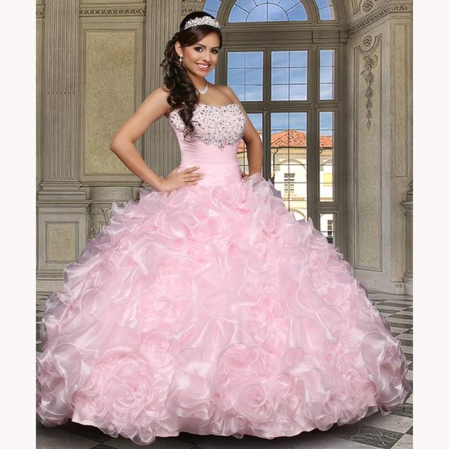 7efc5e23a Vestidos De Quince años 2016 que rebordea Sweetheart Backless del vestido  De bola rosa claro Vestidos