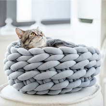 30CM Hand-made Thick Knit Fence Cat Bed Pet Tent Self-warm Foldable Hiding in the Cave for Kitten Dog