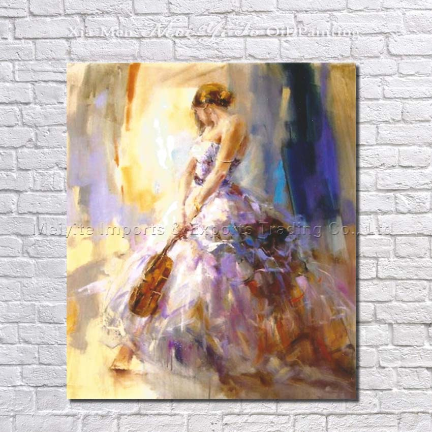 Hot sale Girl playing violin Oil Painting on Canvas Hand Painted abstract figure wall art picture for living room home decor