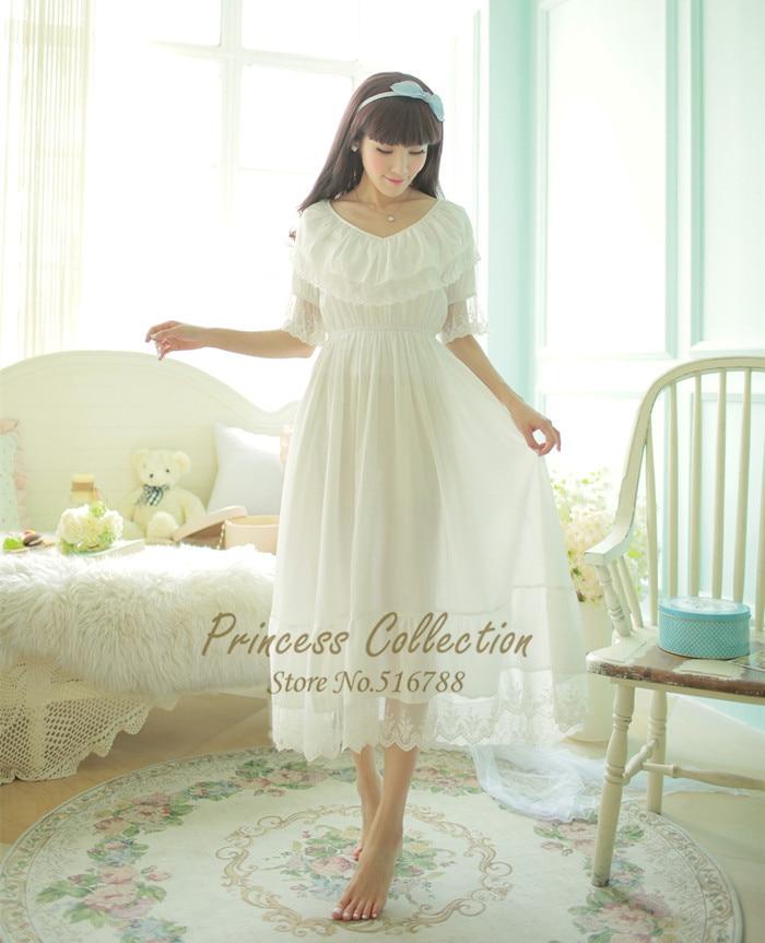 Free Shipping 2016 New Summer Pijamas Frincess Style Nightdress Women s 100 Cotton Long Nightgown Home
