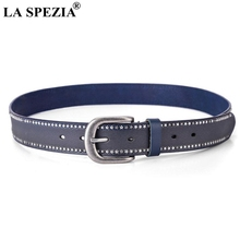 LA SPEZIA Rivet Belts For Women Genuine Leather Belt Blue Metal Pin Buckle Black Belt Ladies Cowskin Fashion Female Belt Wide цена