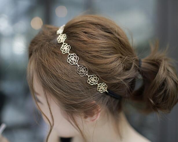 HOT Women/Girl's New fashion vintage gold color  Head wear flower headbands hair accessories wholesale HA40