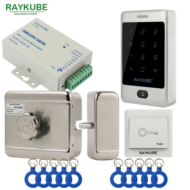 RAYKUBE Electric Motor Lock Access Control System Kit + Metal Touch FRID Reader+Exit Button+ID Keyfobs Door Security raykube door access control kit set electric bolt lock touch metal frid reader for office glass door