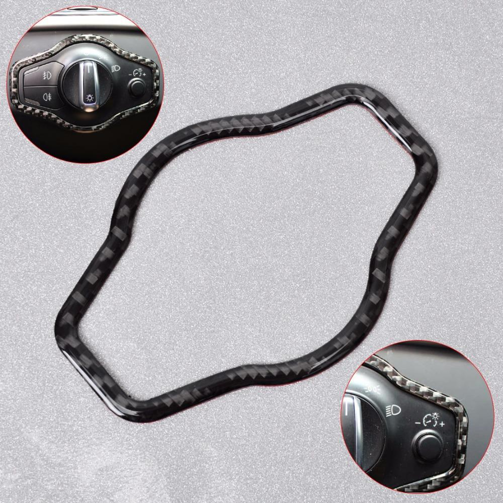 New Styling Carbon Fiber Headlight Button Decorative Cover Trim For Audi A4 A5 Q5 2007 2008 2009 2010 2011 2012 2013 2014 2015