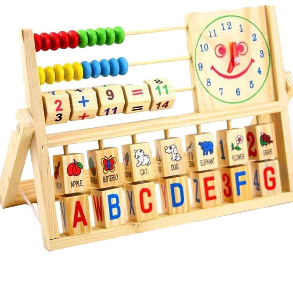 Многофункциональный смайлик часы вычисления стойки раннего образования обучения деревянный Игрушечные лошадки