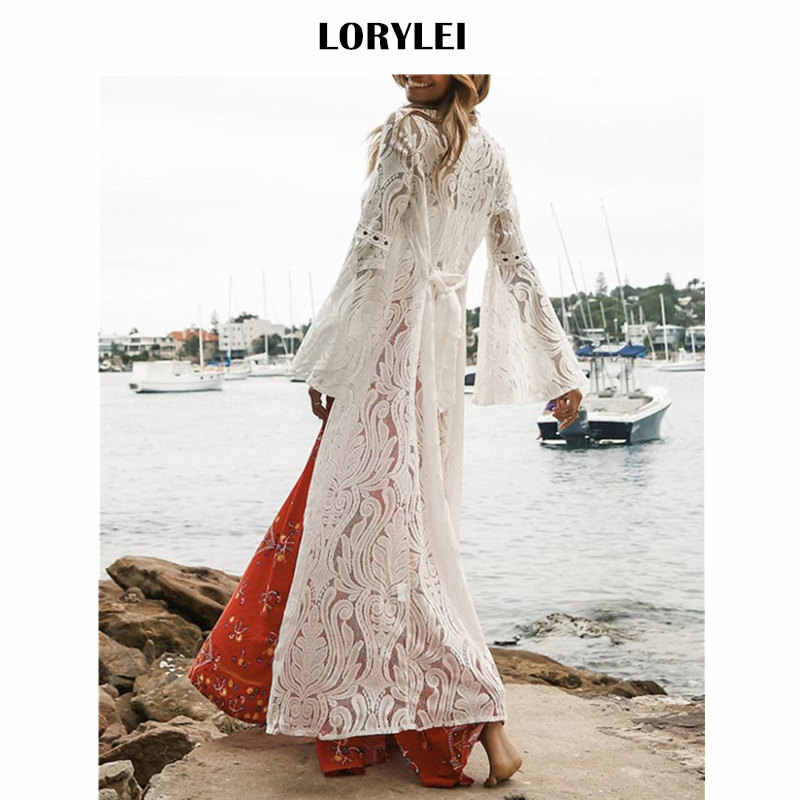 Luxury Sashes Belted Flare Sleeve Ankle Length Front Open Lace Beach Cover  Up Kimono Cardigan Plus 4490ff160290