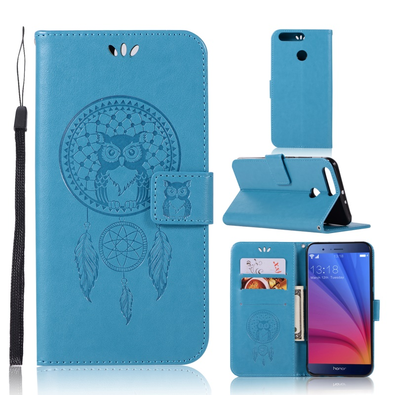 For Huawei Honor 8 Pro Case Imprinted Dream Catcher Owl PU Leather Flip Stand Phone Shell for Huawei Honor V9/8 Pro - 5.7 inch