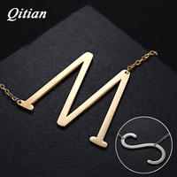 Letter Necklace Pendants Qitian Alphabet Initial Necklace Stainless Steel Gold Color Choker Personalize DIY Women Jewelry