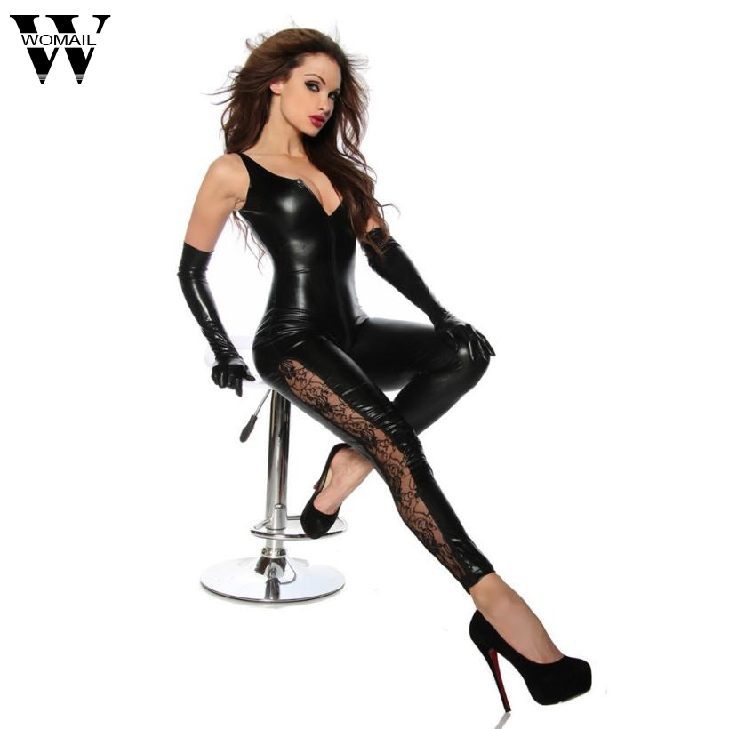 Jumpsuits Womail Leather Sexy Bodysuit Sleeveless Jumpsuit Women Black Sexy Bodysuit Open Crotch Patchwork Clubwear Jumpsuit Dec07 High Resilience