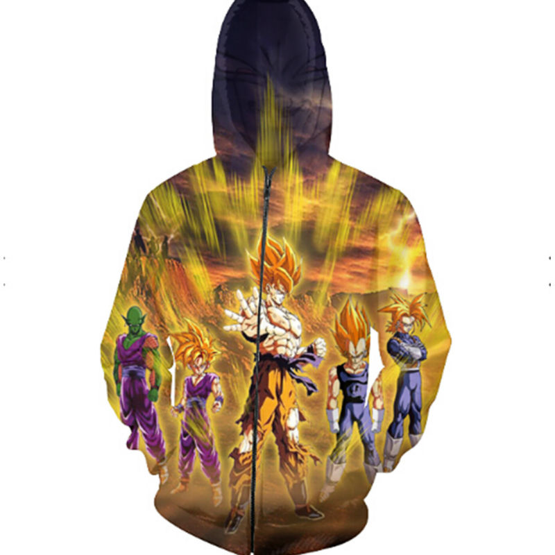 Dragon Ball Z Comic Goku Comics Men Zipper Hoodie Punk 3d Print Male Sweatshirts Outfits Fashion Sweats Tops Cool Pullover