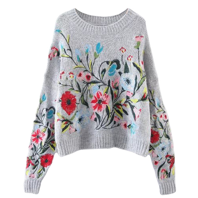 Runway Sweater Women Luxury Brand Design 2018 Autumn Winter Fashion Flowers Embroidery Loose Pullovers and Sweaters Tops New
