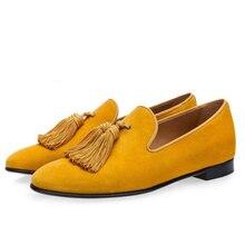 K Luxury Suede Slippers Men Tassel Loafers Purple Smoking Slip-On MenS Boat Flats Party Wedding Male Footwear Mens Dress