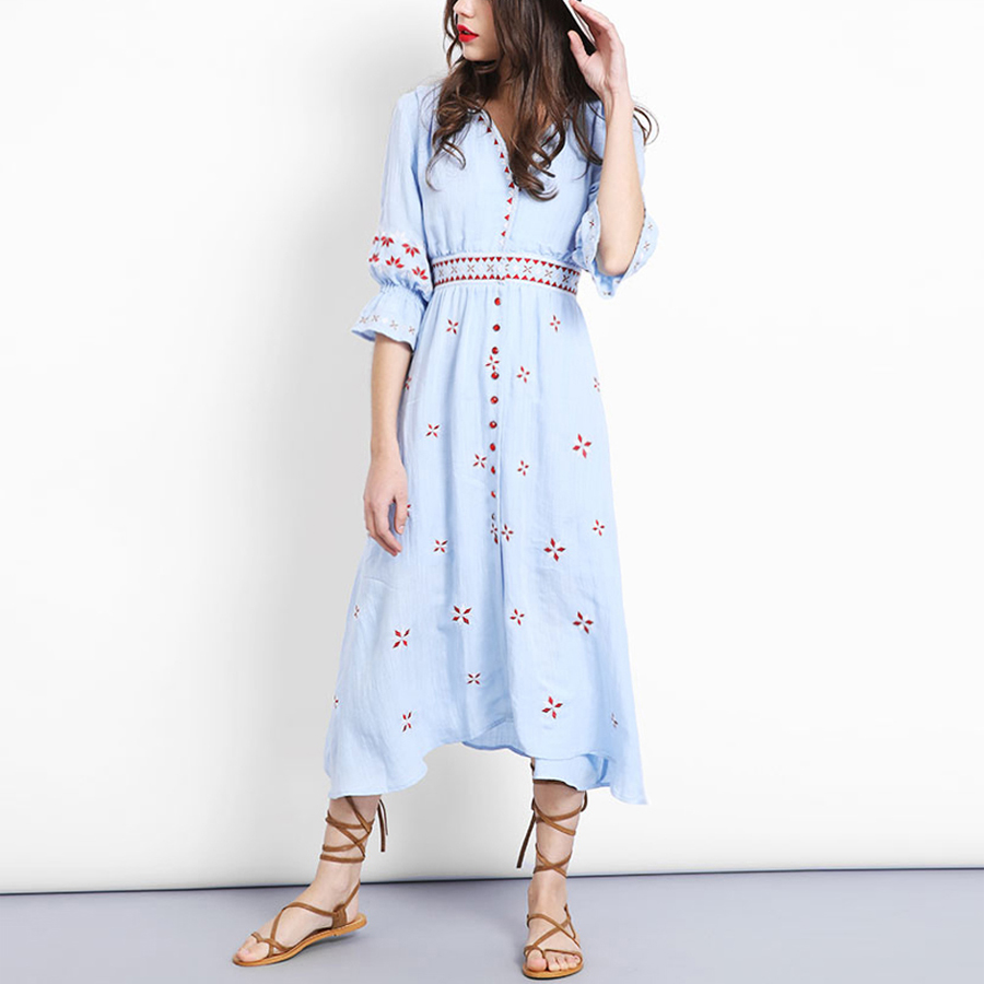 Blue boho long dress 2017 Vintage cotton floral Embroidery V neck Red gem button Casual dresses