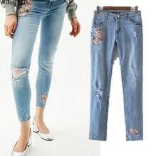 Freeshipping джинсы женщина джинсы женщина джинсы femme 2017 развивать нравственность стрейч Вырос вышивка Отверстие в джинсах