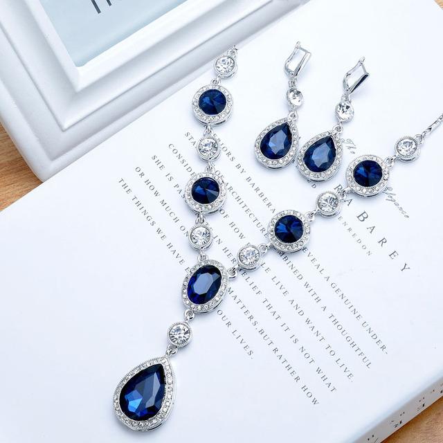 Venda quente da moda jóias elegante charme brilhante projeto especial de alta qualidade Pear Necklace mulheres brincos Set melhor amigo presente