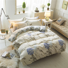 Three or four pieces of green plants and flowers comforter bedding sets  bed sheet duvet set 3&4 pcs