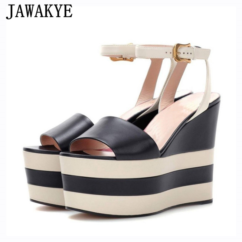 Genuine leather platform wedge heels sandals women stripe ankle strap peep toe sexy T show 2018 summer shoes zapatos mujer evans v dooley j access 3 plus grammar key