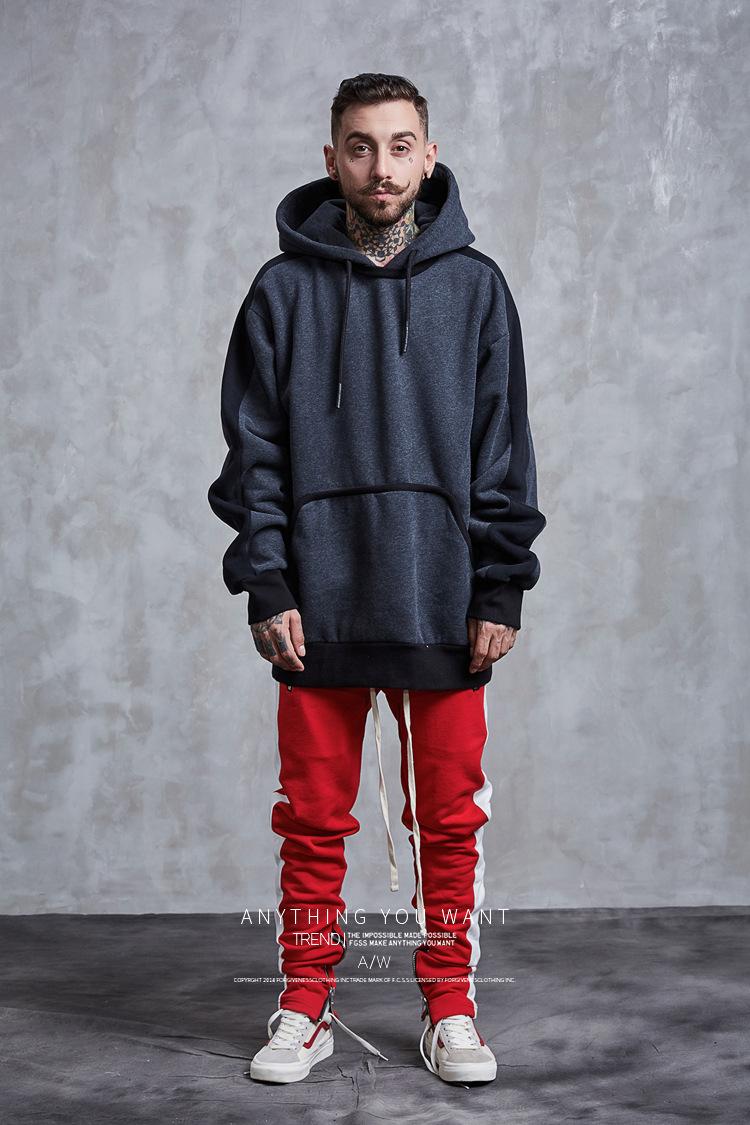 Aolamegs Hoodies Men Side Striped Hood High Street Pullover Cotton Fashion Hip Hop Streetwear Casual Big Pocket Hoodie Autumn (26)