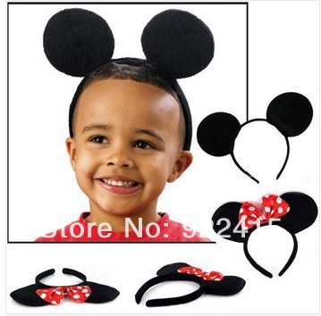 kids birthday party supplies Minnie Mouse ears children Hair Accessories Baby Girls Headwear Red Pink Bow Headband Hair Band