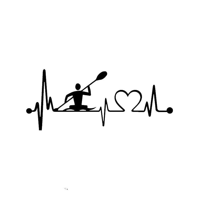 14.5cm*6cm Personality Heartbeat Lifeline Kayak Fashion Creative Car Stickers S2-0406