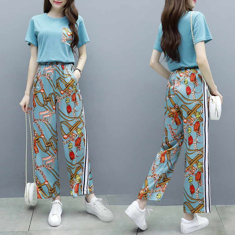 L-5xl Summer Printed Two Piece Sets Women Plus Size Short Sleeve T-shirts And Wide Leg Pants Suits Casual Fashion Women's Sets 32