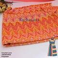 Orange wave tarja rendas de croché tecido da folha de plátano allovered malha rendas misson tecidos quintal ouro 150 cm de largura cha imagem