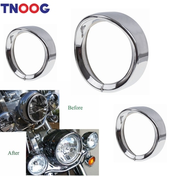 TNOOG 7inch Headlight Headlamp Trim Ring For Harley Touring Road King Electra Glide Motorcycle Accessories 7 inch Lights harley davidson headlight price