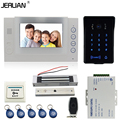 JERUAN 7 inch LCD video door phone Record intercom system Kit New RFID waterproof Touch Key password keypad Camera 8G SD Card