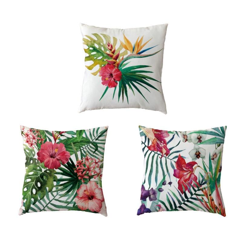 Modern Art Rainforest plant leaves White Pillow Cases Nordic Style Home Decor Sofa Seat Summer Monstera Cushion Cover Peach Skin