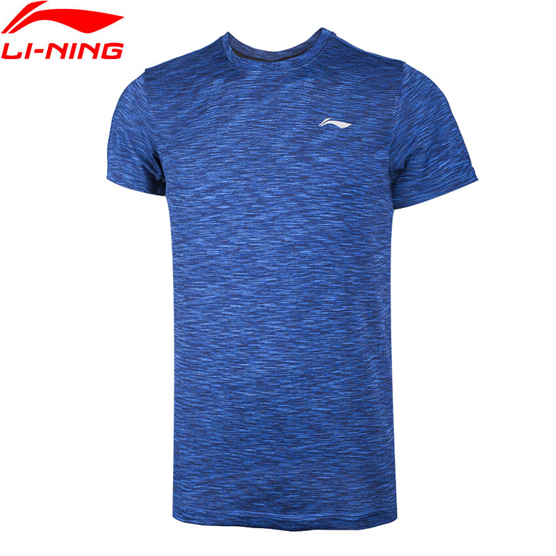 Li-Ning Men Running Series Sports T-Shirt Slim Fit 100% Polyester LiNing T shirt Comfort Breathable Tee Tops ATSN073 MTS2746