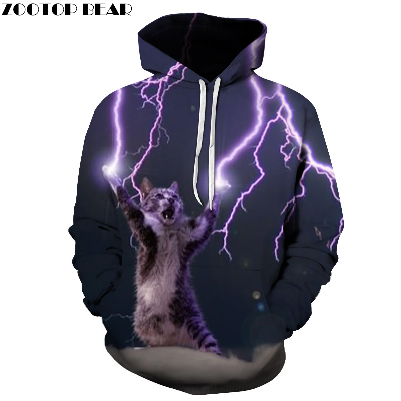Funny Cat Lightning Hoodies Quality 3D Unisex Sweatshrit Hooded Tracksuit Male Pullover Casual Streetwear ZOOTOP BEAR