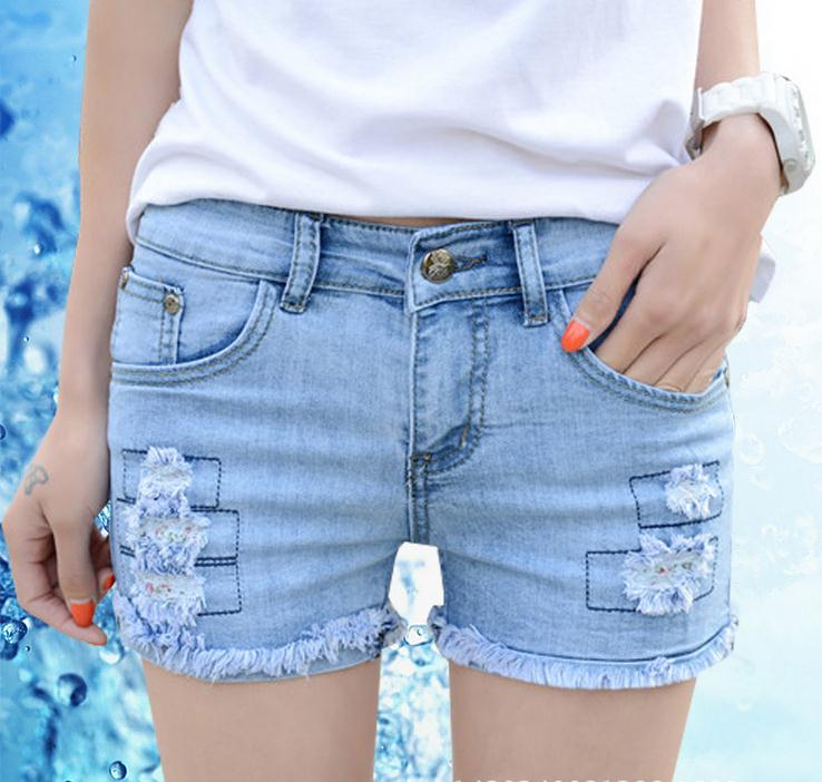 2016 Summer Light Color Cowboy Short Shorts Sexy Hole Patch Leisure Ripped Jeans Women Girls Denim Sewing trousers