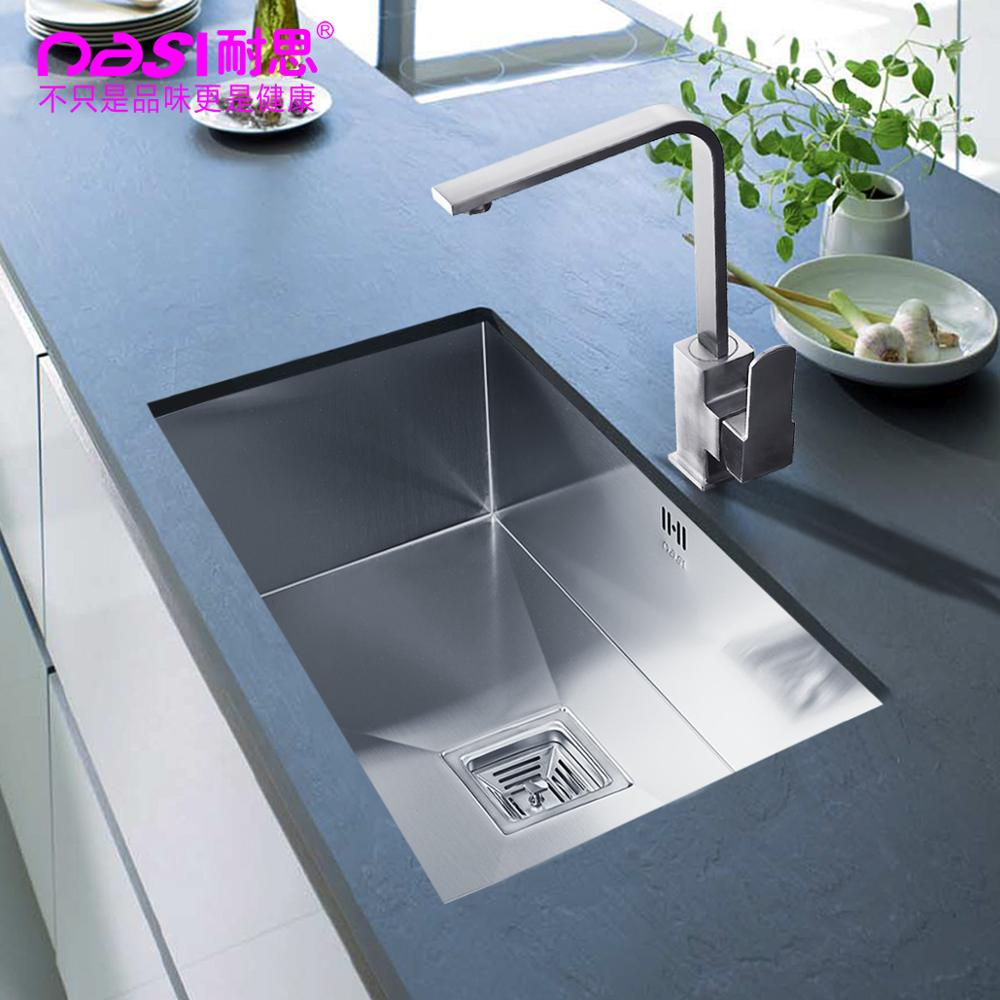 amazing Under The Counter Kitchen Sinks #7: Free shipping vegetable washing basin groove 304 stainless steel  undercounter hand slot Kitchen Sinks