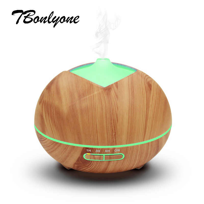 Tbonlyone 300ML Wood Grain Aromatherapy Ultrasonic Humidifier Essential Oil Diffuser with LED lights Aroma Diffuser for Spa Yoga brand new portable led lights wood grain expansion machine negative ion oil diffuser humidifier aromatherapy machine for home