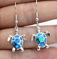 Cute Blue / White Fire Opal Sea Turtle Earring