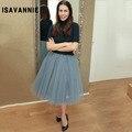 Autumn Double Lining6 Layers Tulle Skirt Elastic Tutu Womens Faldas Pleated 2016 High Waisted Mid-Calf Knee Length Plus Size