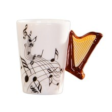 Creative novelty harp handle ceramic cup free spectrum coffee milk tea cup personality mug unique musical instrument gift cup(China)