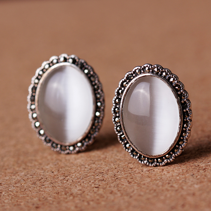 famous brand Button stud earrings female silk Princess high end Mosaic Flower Vintage Silver S925 fairy