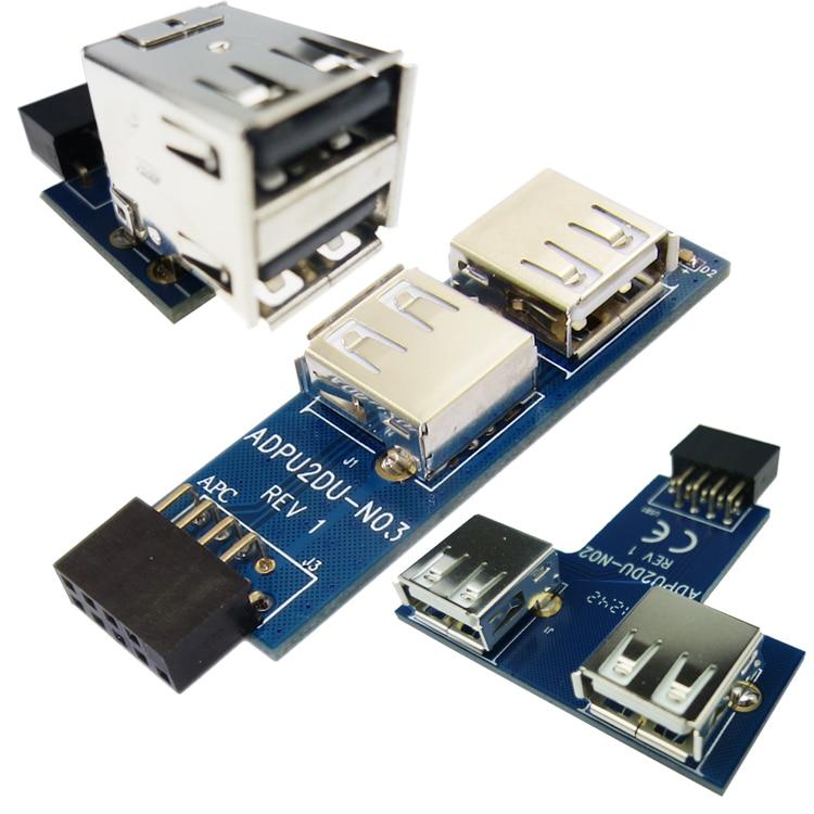 diferente forma USB Hub 9pin USB 2.0 pin header a Dual USB2.0 A Tarjeta de convertidor de puerto hembra