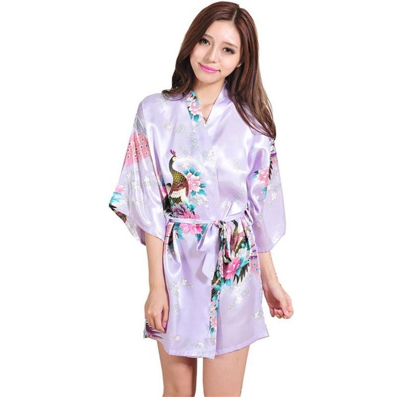 09b9983f7a Purple Plus Size S - XXXL Summer Sexy Womens Robe Rayon Nightgown Print  Long Sleepwear Kimono Bath Gown Flower Pajamas T006