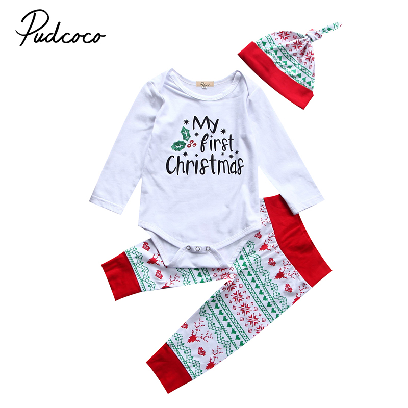 цена на 3PCS Set My First Christmas Newborn Baby Boy Girl Clothes Long Sleeve Cotton Romper Tops+Long Pant Hat Outfits Kids Clothing Set