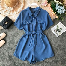 Summer Women Jumpsuit  2019 Button Summer Work Blouse Rompers Short Jumpsuit Women Playsuit High Waist Tie Office Ladies Romper недорого