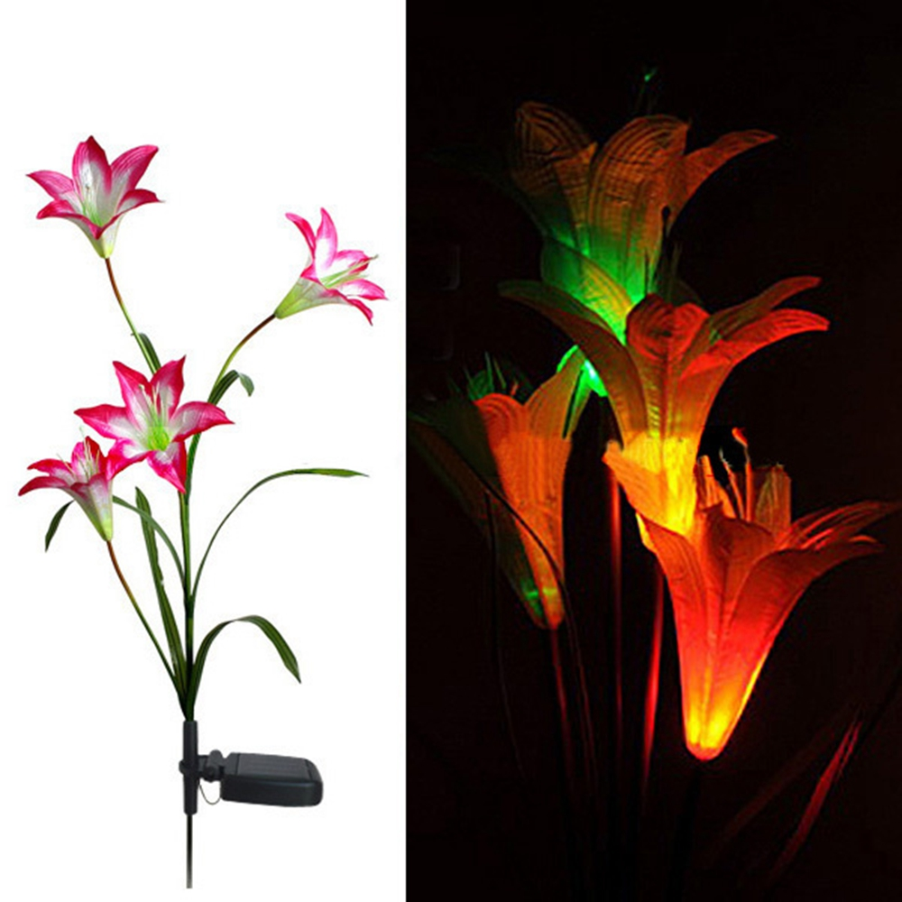 Pink Solar LED Lily Flower Light Color Changing Energy Saving Lamps Outdoor Garden Path Yard Decoration 3 LED Flower Party LampPink Solar LED Lily Flower Light Color Changing Energy Saving Lamps Outdoor Garden Path Yard Decoration 3 LED Flower Party Lamp