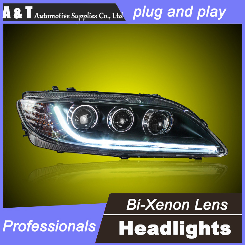 car styling For MAZDA 6 headlight assembly angel eyes 2003-2014 For MAZDA 6 bi xenon lens h7 with hid kit 2 pcs. 1pc 2 5 hid xenon ultimate bi xenon projector lens parking car styling headlight diy lamp for h1bulb with shrouds h4 h7 socket
