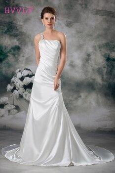 One-shoulder 2019 Wedding Dresses Mermaid Sweep Train Beaded Cheap Vintage Wedding Gown Bridal Dresses Vestido De Noiva