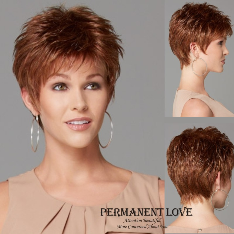 low price haircuts heat resistant synthetic wigs pixie cut 5053