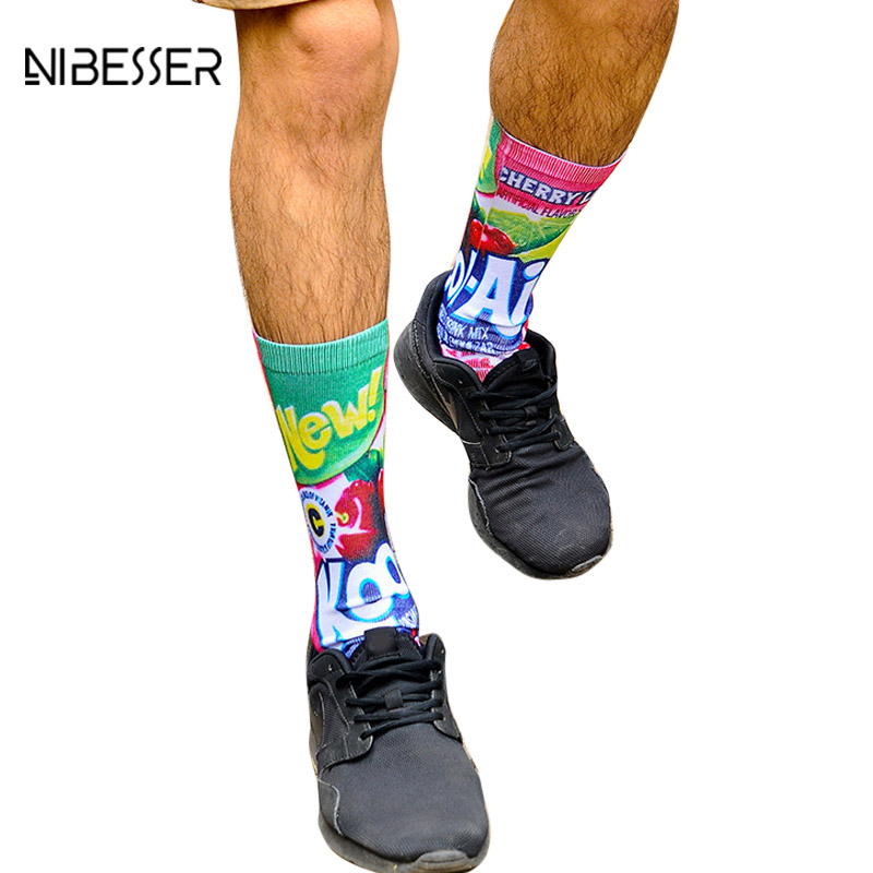 NIBESSER Harajuku style Men Women Socks 3D Printed Pattern Crew Socks Male Fashion Casual Colorful Fitness Male Crew Socks