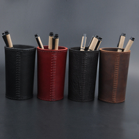 Handmade Genuine Leather Pen holder Office Organizer Round Cosmetic Makeup Brushes